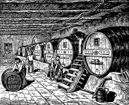 Barrels of port in a cellar