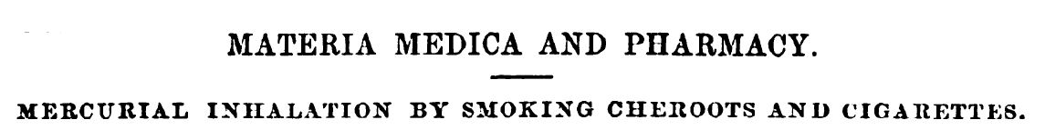 Inhalation of medicine by smoking cigarettes