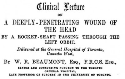 penetrating wound of the head caused by rocket