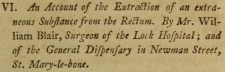 An account of the extraction of a foreign body from the rectum