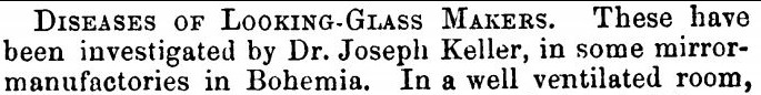 Disease of looking-glass makers