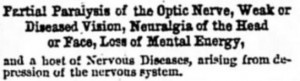 partial paralysis of the optic nerve