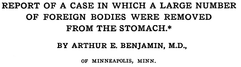 Case of foreign bodies in the stomach