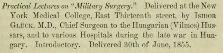 Gluck lectures on military surgery