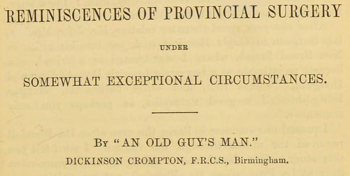Reminiscences of provincial surgery