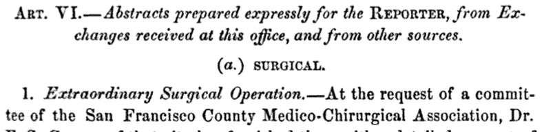 extraordinary surgical operation
