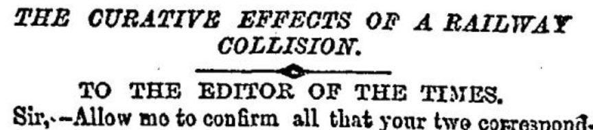curative effects of a railway collision