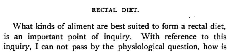 Rectal diet