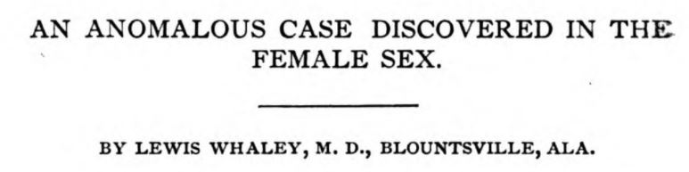 Anomalous case in the female sex