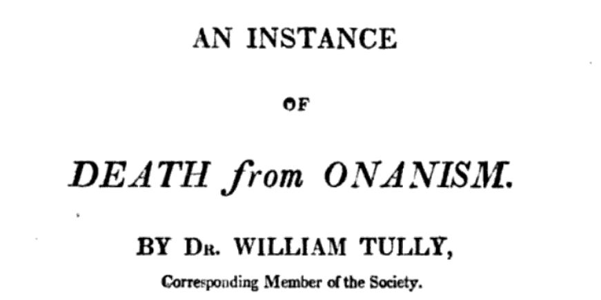 An instance of death from onanism